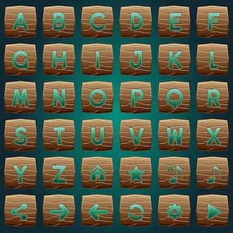 Botões de madeira para um a z jogo de palavras do alfabeto.
