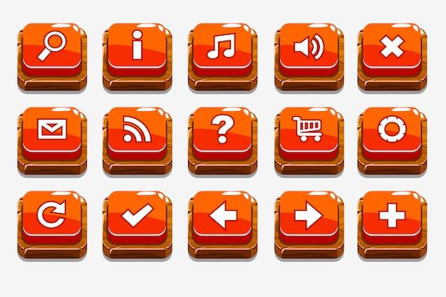 Botões de madeira vermelhos com diferentes elementos do menu