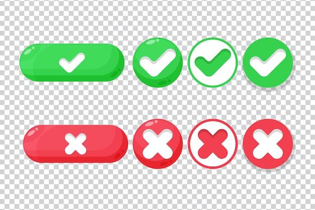 Botões de marcar e cruzar em um fundo em branco