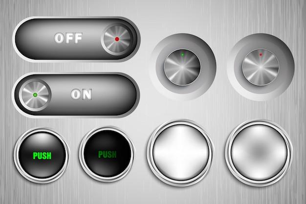 Botões de metal cinza
