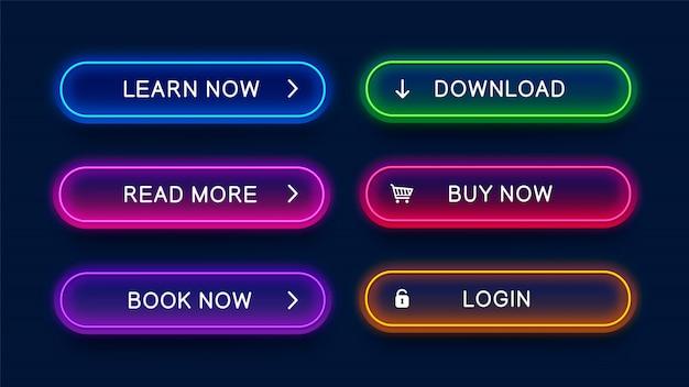 Botões de néon na moda, brilhantes, para web design.