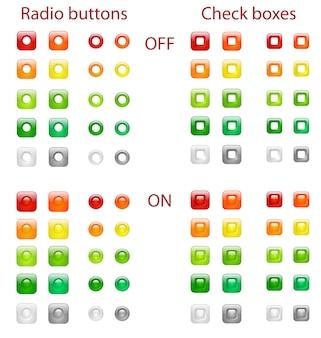 Botões de opção e caixas de seleção