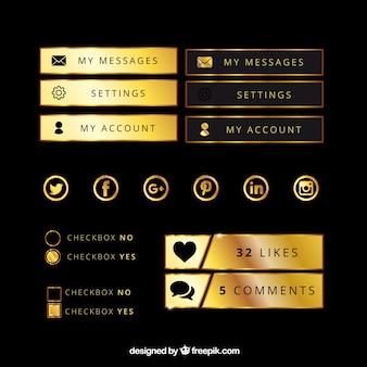Botões de ouro para uma página da web
