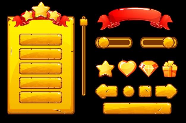 Botões de ouro velhos dos desenhos animados para o jogo, interface de usuário do jogo