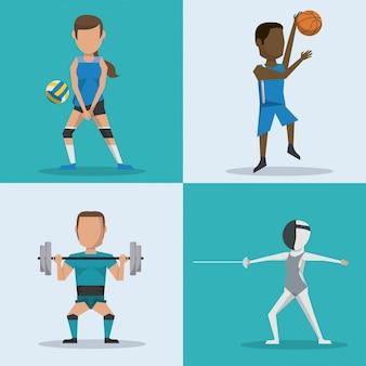 Botões de quadrado azul e branco conjunto de atletas com esportes variados