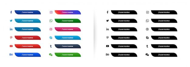 Botões de rede de mídia de socail web menor terceiro banner