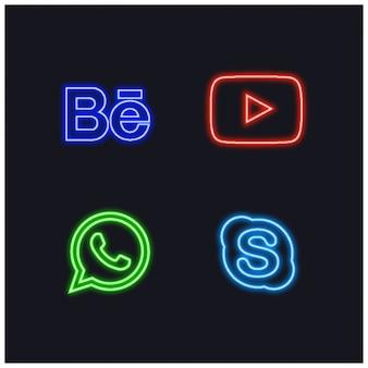 Botões de social neon sign