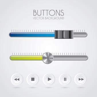 Botões de som sobre ilustração vetorial de fundo cinza
