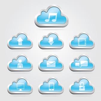 Botões de tecnologia de nuvem e conjunto.