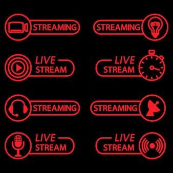 Botões de transmissão ao vivo em esboço ícones planos para vídeo-conferência webinar vídeo-bate-papos curso on-line