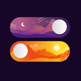 Botões de troca de dia e noite