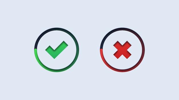 Botões de verificação verde e cruz vermelha