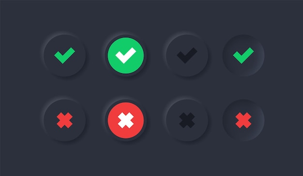 Botões de verificação verdes sim e vermelhos não ou ícones aprovados e rejeitados no círculo preto de neumorfismo