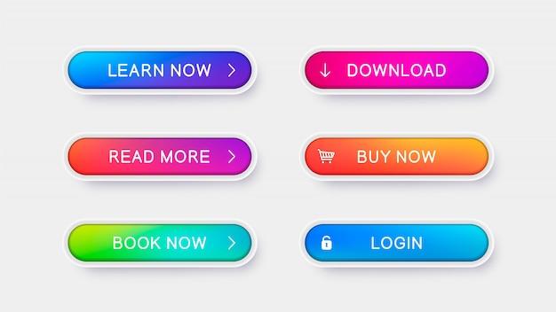 Botões de vetor na moda para web design.