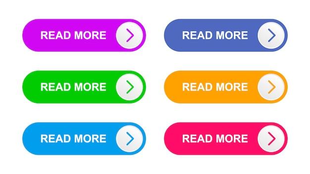 Botões de vetor roxo, verde, azul brilhante, azul, laranja e rosa cor isolados