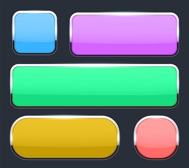 Botões de vidro 3d com moldura de cromo