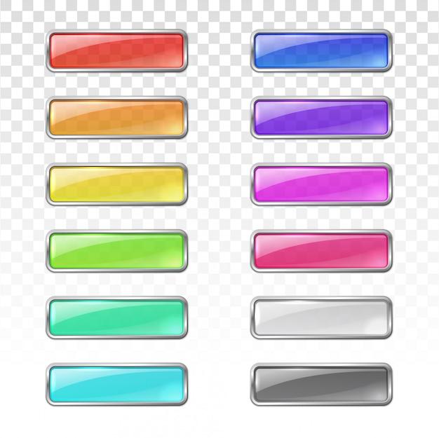 Botões de vidro colorido com armação de metal