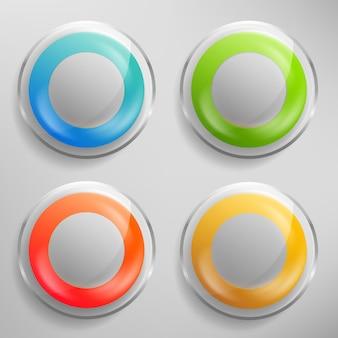 Botões de vidro realistas com orifício redondo no meio e moldura prateada. emblemas brilhantes transparentes