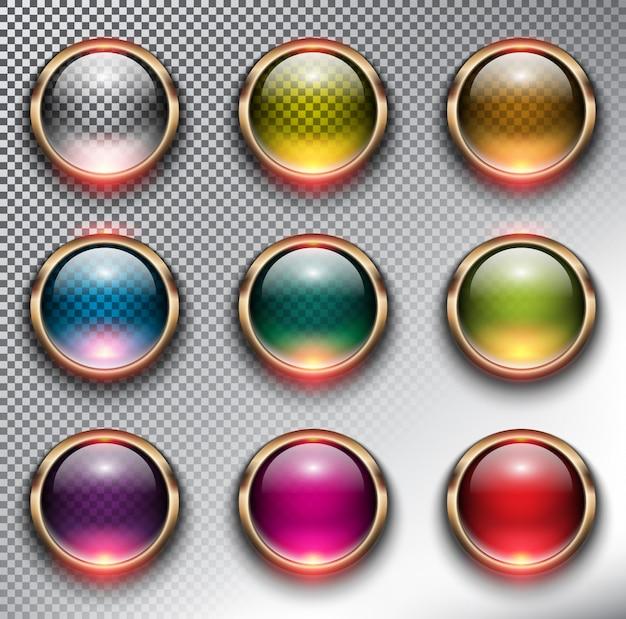 Botões de vidro redondo com armação de metal, bronze. isolado