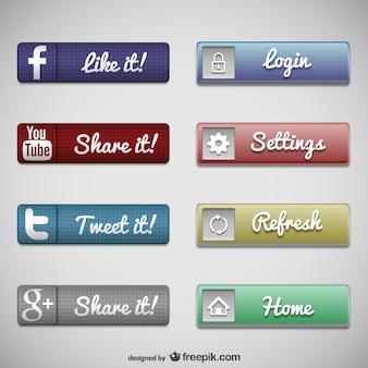 Botões de web conjunto de mídias sociais