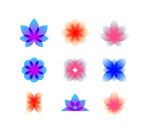 Botões decorativos de gradiente.