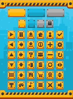 Botões do jogo do metal amarelo