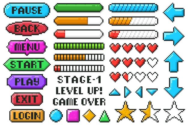 Botões do menu do jogo de pixel. setas de controle de interface do usuário de 8 bits, barras de nível e ao vivo, conjunto de botões de menu, parar e reproduzir