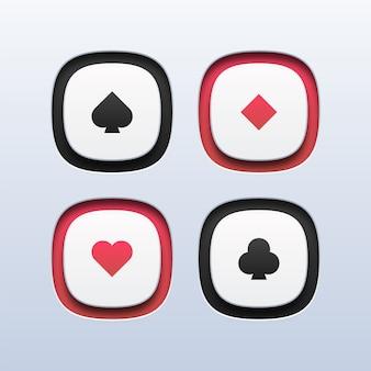 Botões do símbolo do naipe de baralho