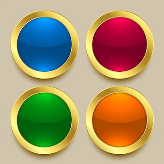 Botões dourados brilhantes premium em cores diferentes
