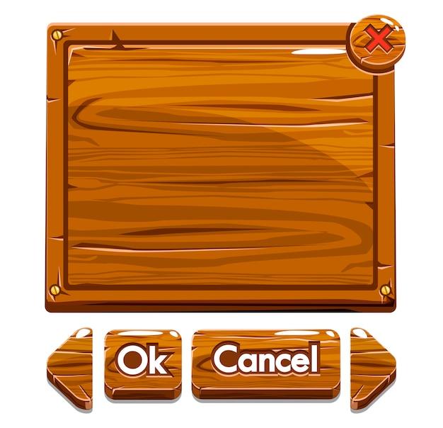Botões e ativos de madeira dos desenhos animados para jogo de interface do usuário