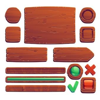 Botões e banners de madeira para jogos