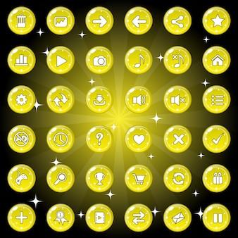 Botões e cenografia de ícones para jogo ou tema da web cor amarela.