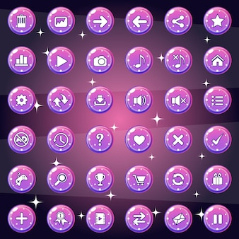 Botões e cenografia de ícones para jogo ou web são de cor gradiente.