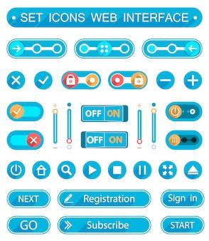 Botões e interruptores azuis em estilo minimalista