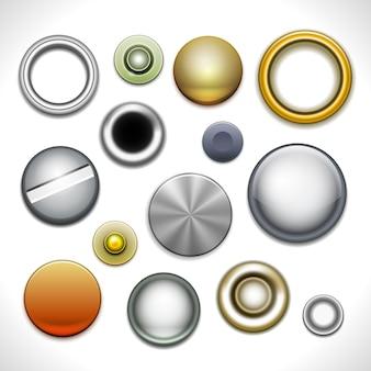 Botões e rebites de metal isolados