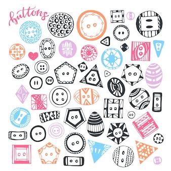 Botões mão desenhada conjunto isolado. vector coleção artesanal para design e decoração.