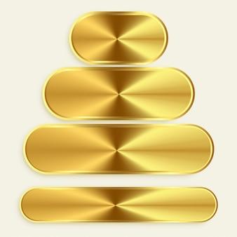 Botões metálicos dourados em tamanhos diferentes