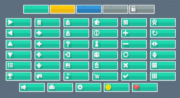 Botões minimalistas do jogo Vetor Premium