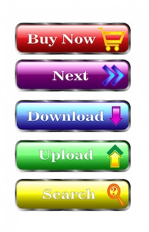 Botões multicoloridos. designer de web. compre agora, próximo, download, download, pesquisa.