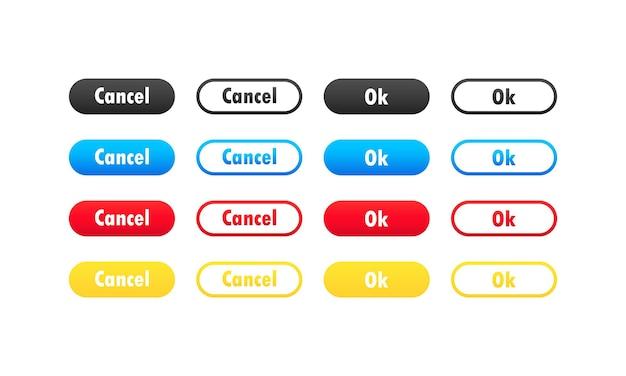 Botões ok e cancelar. botões com símbolos para design da web e interface do usuário.