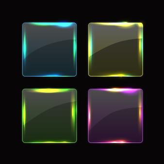 Botões ou banners quadrados de vidro transparente com cantos arredondados e diferentes reflexos de brilho