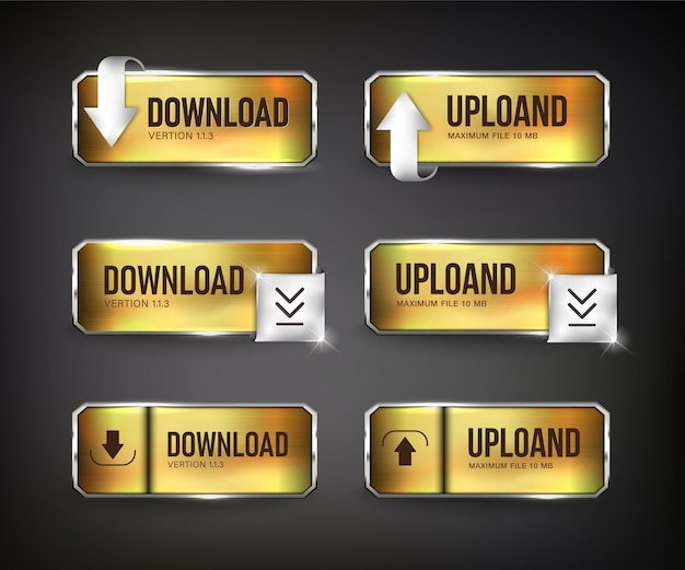 Botões ouro de download da web aço na cor de fundo preto