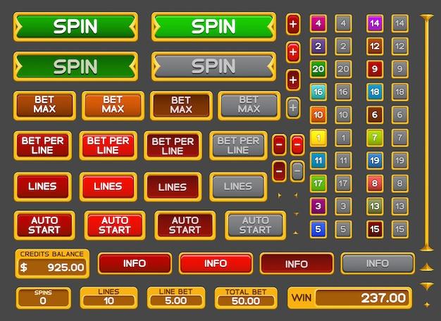 Botões para jogo de slots
