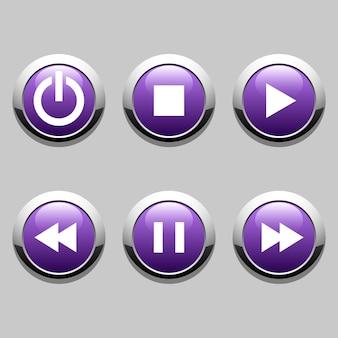 Botões para o jogador: parar, reproduzir, pausar, retroceder, avançar rapidamente, poder.
