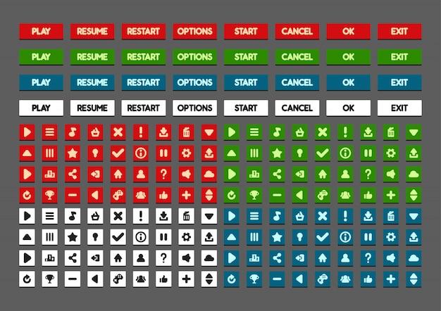 Botões planos para criar jogos de vídeo