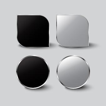 Botões preto e branco vidro