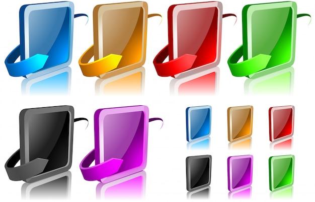 Botões quadrados com setas e reflexões