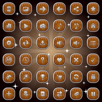 Botões quadrados de madeira e ícones de símbolo com cenografia isolada de moldura de prata para jogo ou web.