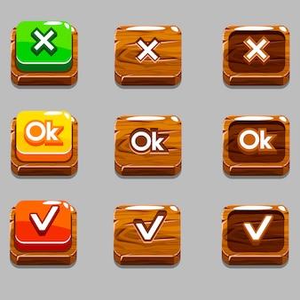 Botões quadrados de madeira para o jogo, ok, sim, fechar