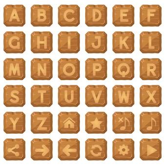 Botões quadrados de madeira para um jogo de palavras do alfabeto z.